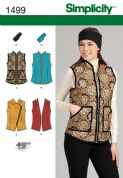 1499 Simplicity Pattern: Misses' Gilet and Headband in Three Sizes